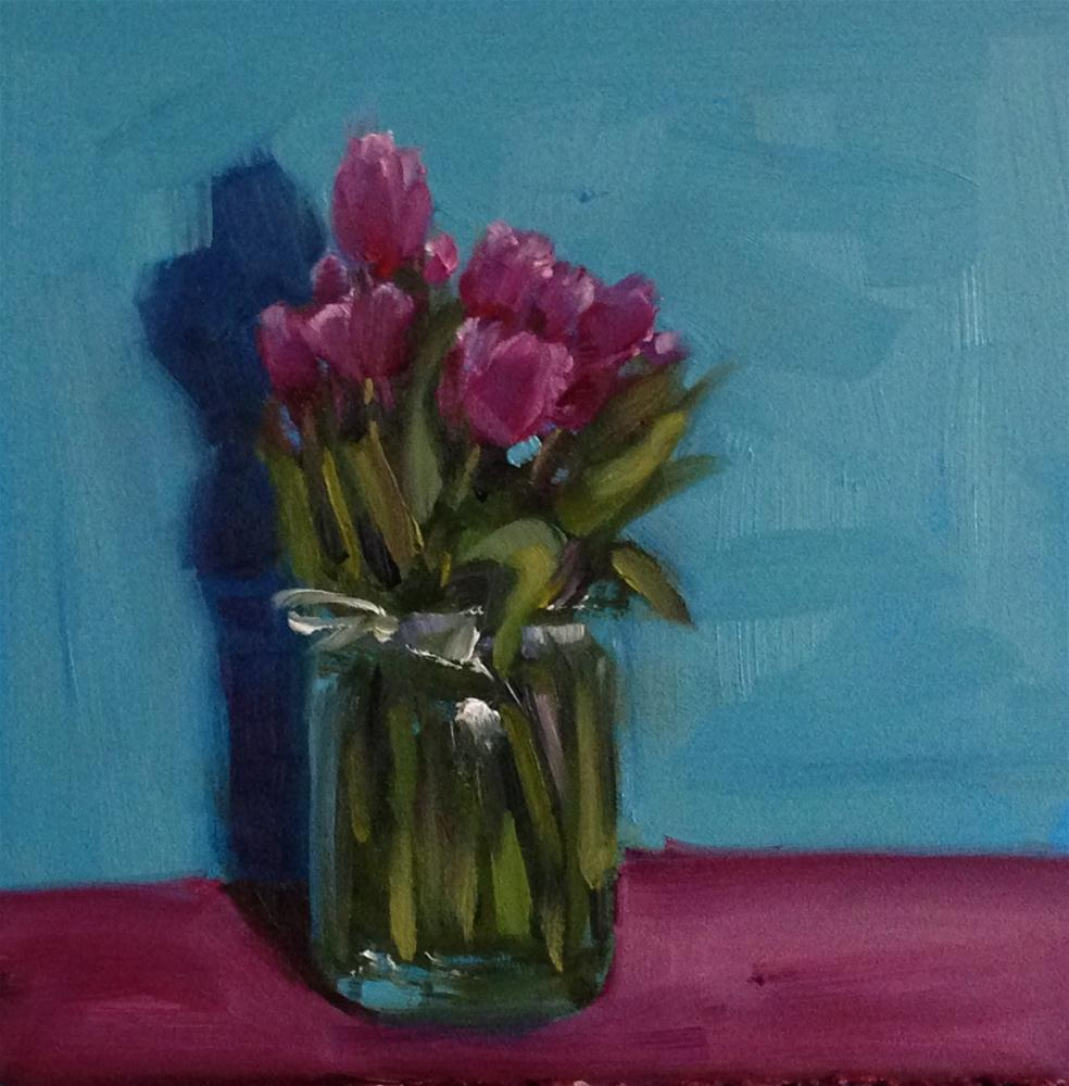 """All Of The Tulips, 6x6 Inch Oil Painting by Kelley MacDonald"" original fine art by Kelley MacDonald"
