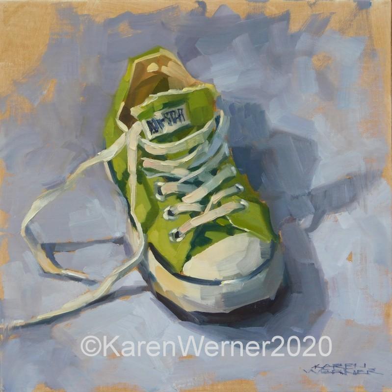 """""""The One Green Shoe"""" original fine art by Karen Werner"""