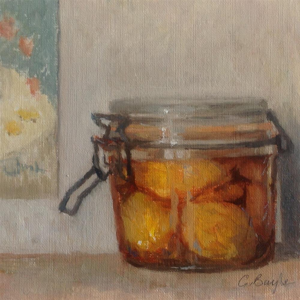 """Canned peaches"" original fine art by Christine Bayle"
