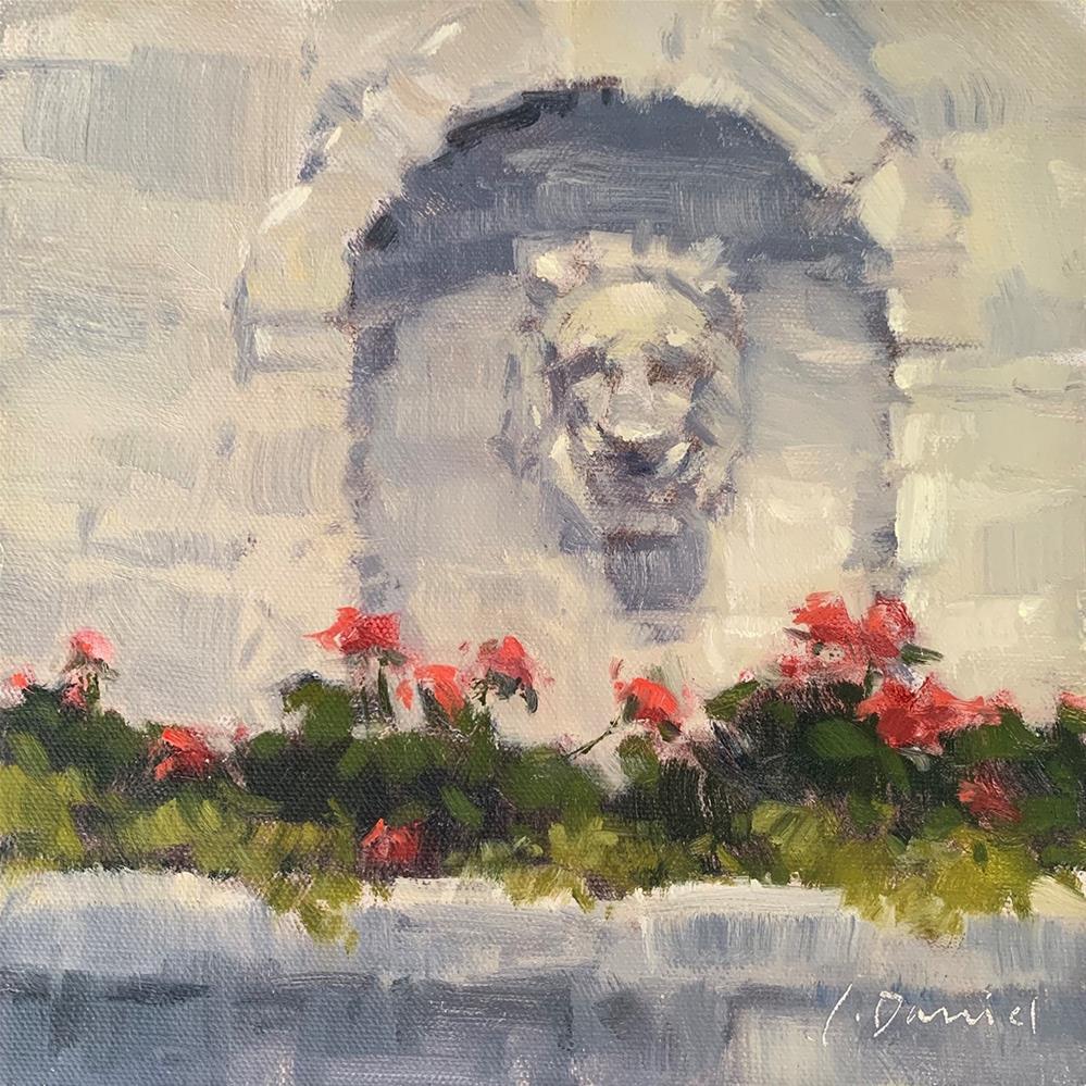 """""""Lion Planter (study)"""" original fine art by Laurel Daniel"""