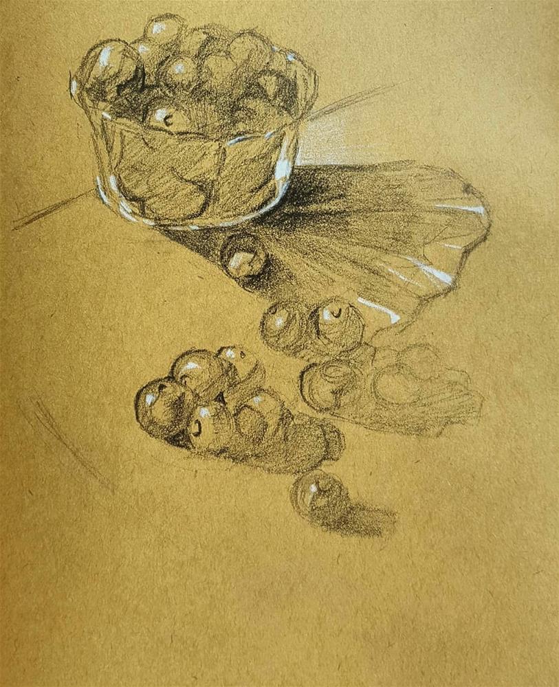 """Bunch of Blueberries"" original fine art by Bhavna Misra"