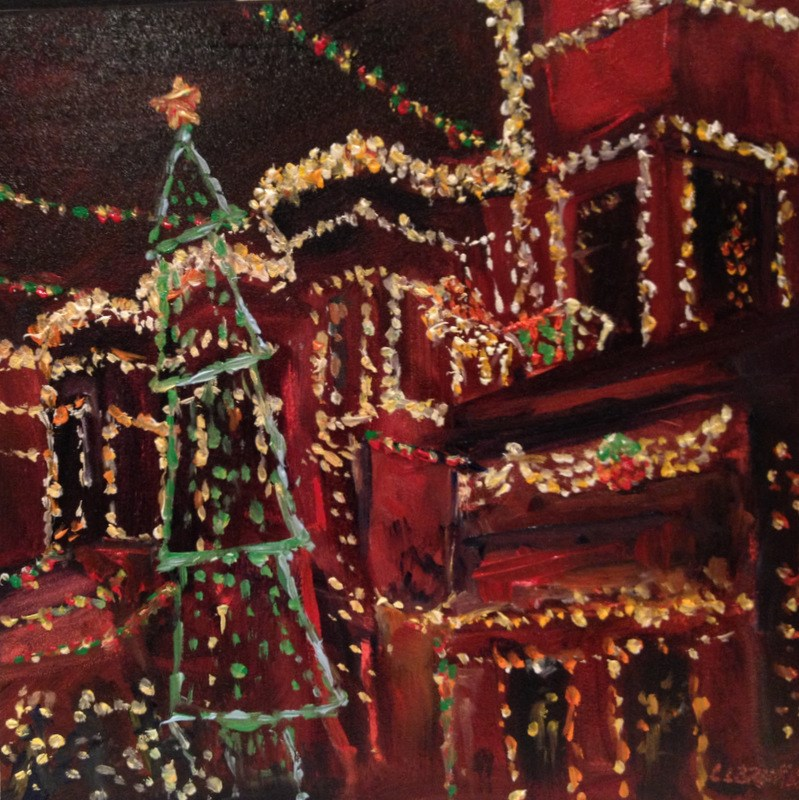 """""""34th Street Christmas II, Day 76"""" original fine art by Claudia L Brookes"""