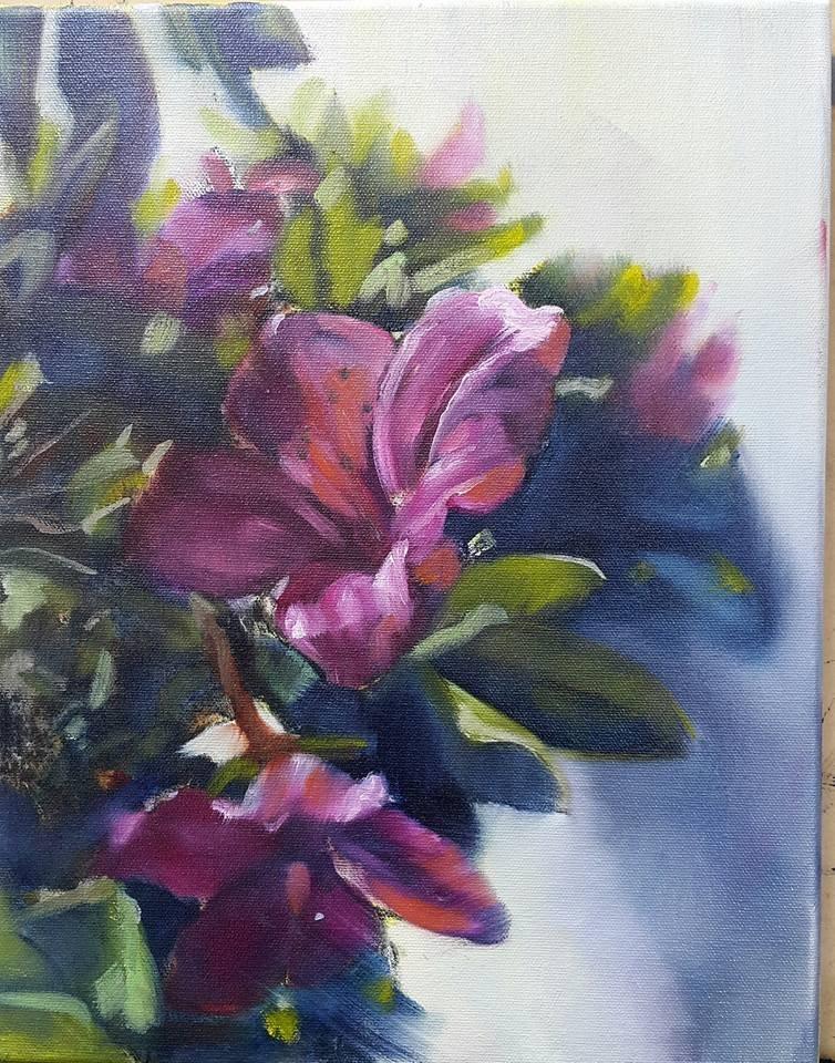"""Azalea in full bloom"" original fine art by Rentia Coetzee"