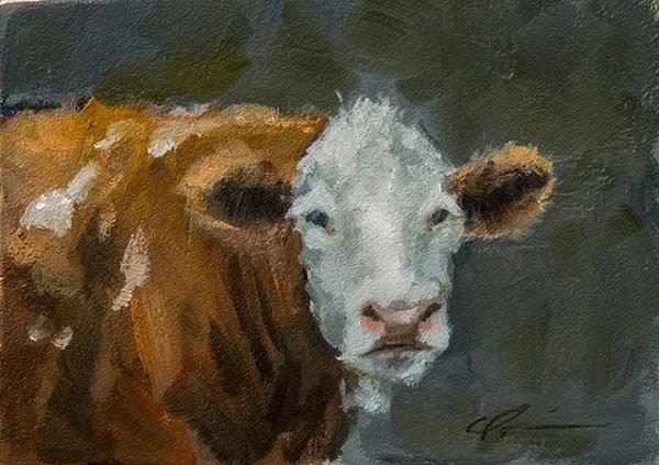 """""""Brown Cow"""" original fine art by Clair Hartmann"""