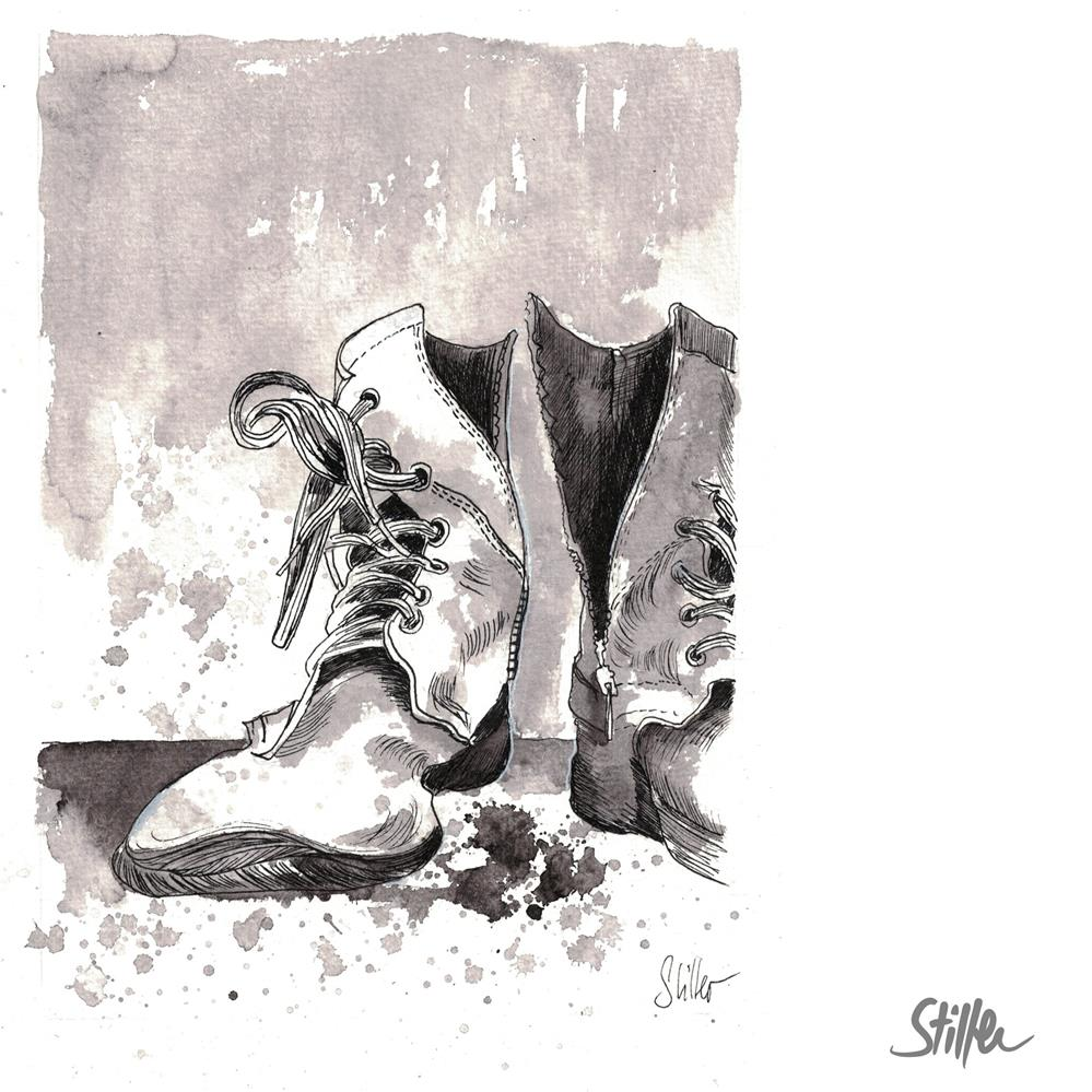"""""""3695 Quick Boots"""" original fine art by Dietmar Stiller"""