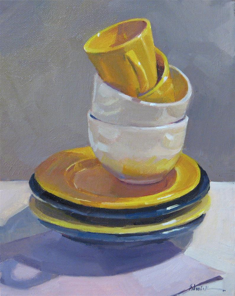 """""""Blue and Yellow Stack"""" original fine art by Sarah Sedwick"""