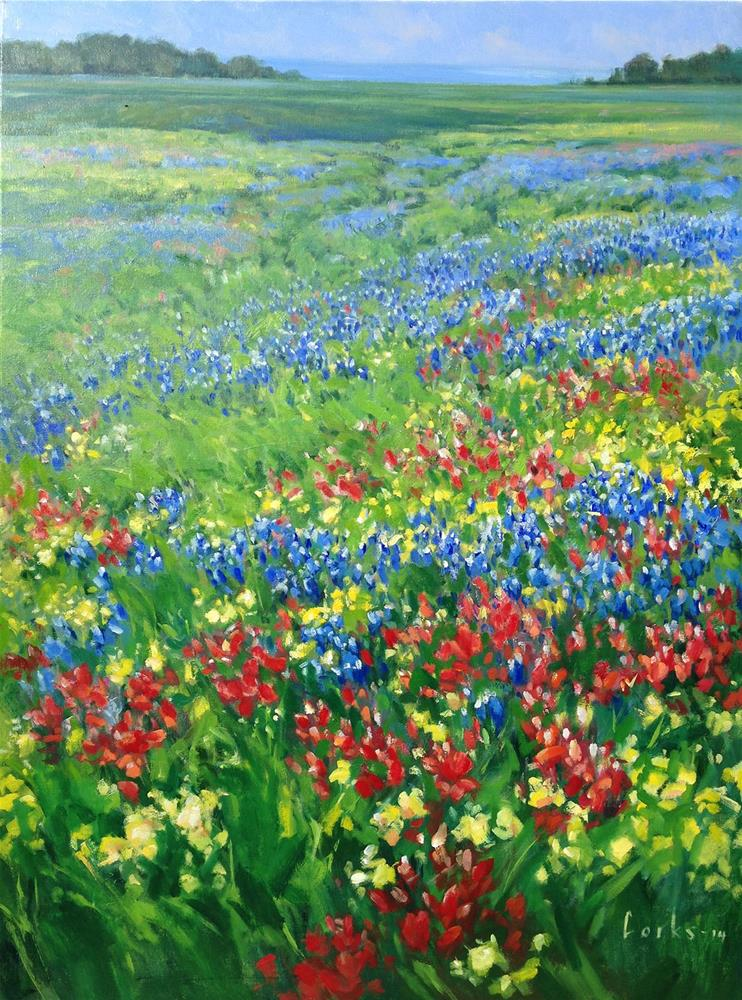 """WILDFLOWERS SOUTH OF JOHNSON CITY"" original fine art by David Forks"