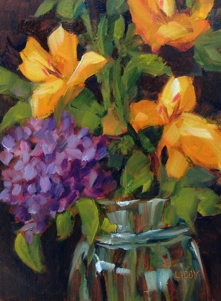 """""""Yellow lilies"""" original fine art by Libby Anderson"""