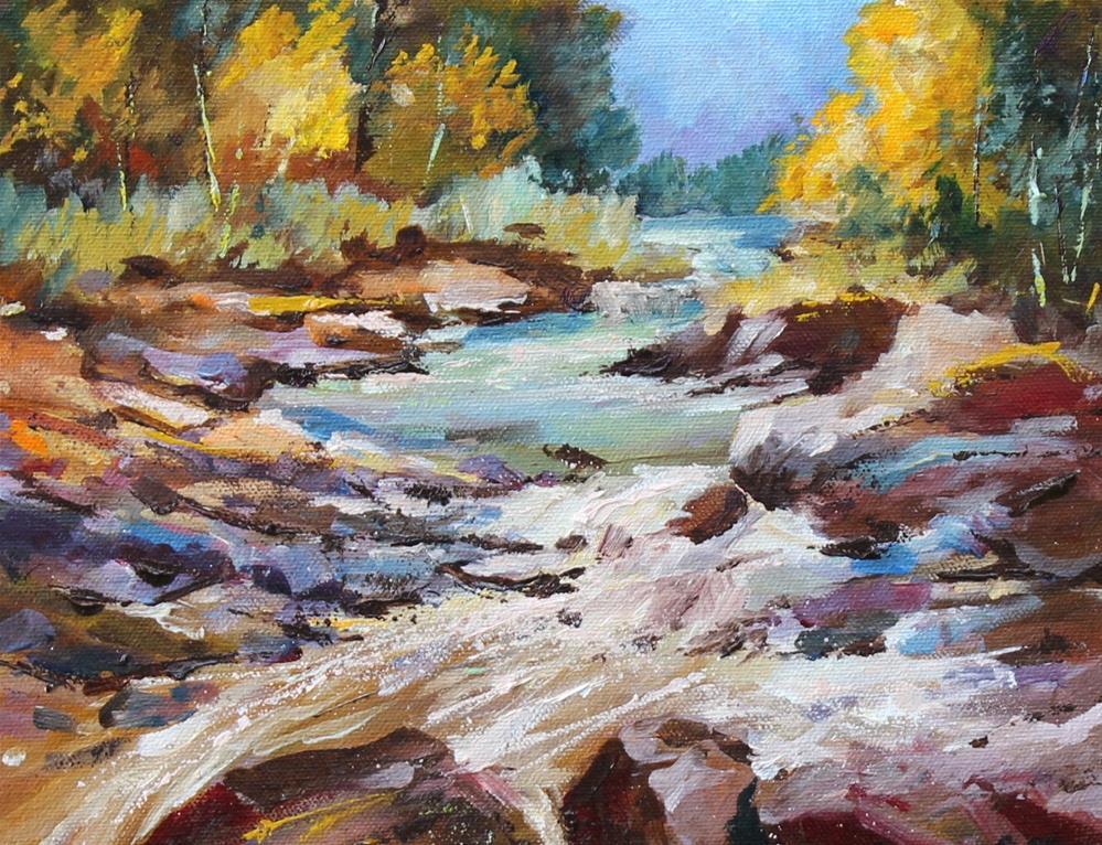 """Original oil creek landscape water rock painting"" original fine art by Alice Harpel"