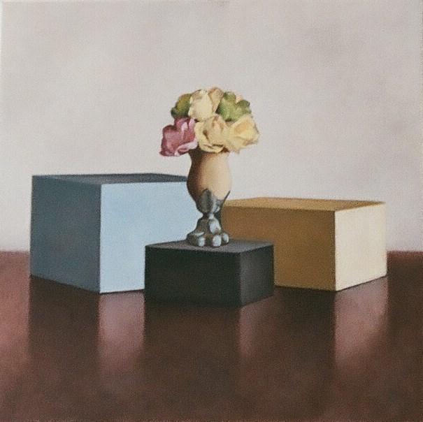 """Vase and Three Boxes"" original fine art by Megan Schembre"