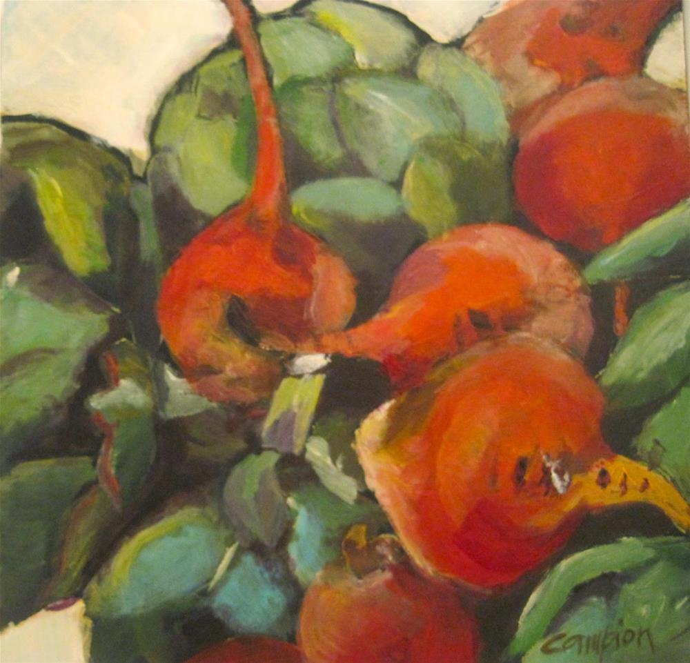 """474 Farmers' Market Beets and Artichokes"" original fine art by Diane Campion"