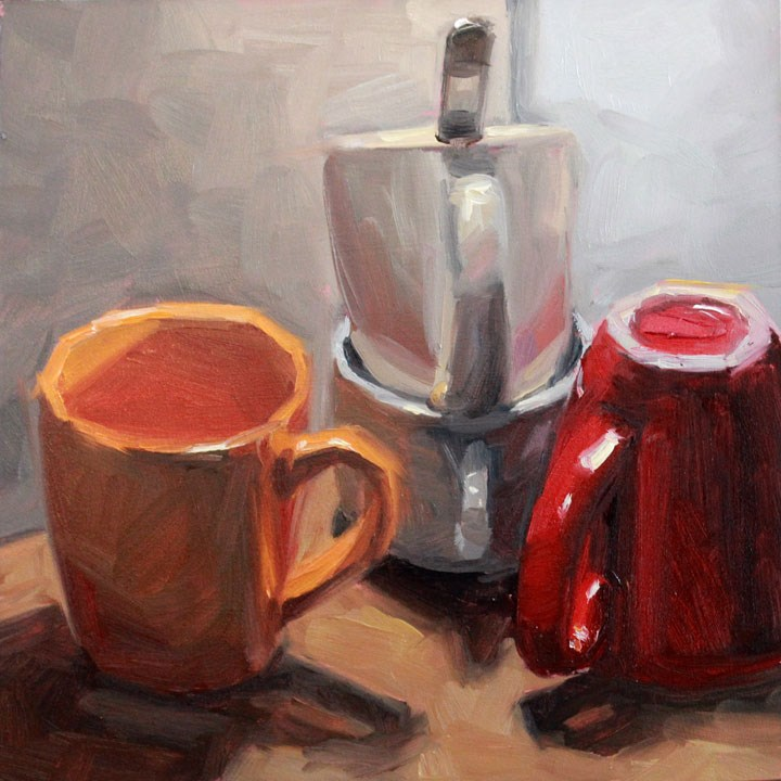 """""""Four Cups and a Spoon"""" original fine art by Nealy May Riley"""