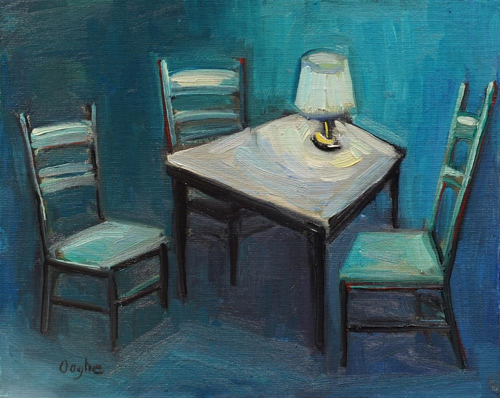 """""""Table, chairs, lamp"""" original fine art by Angela Ooghe"""