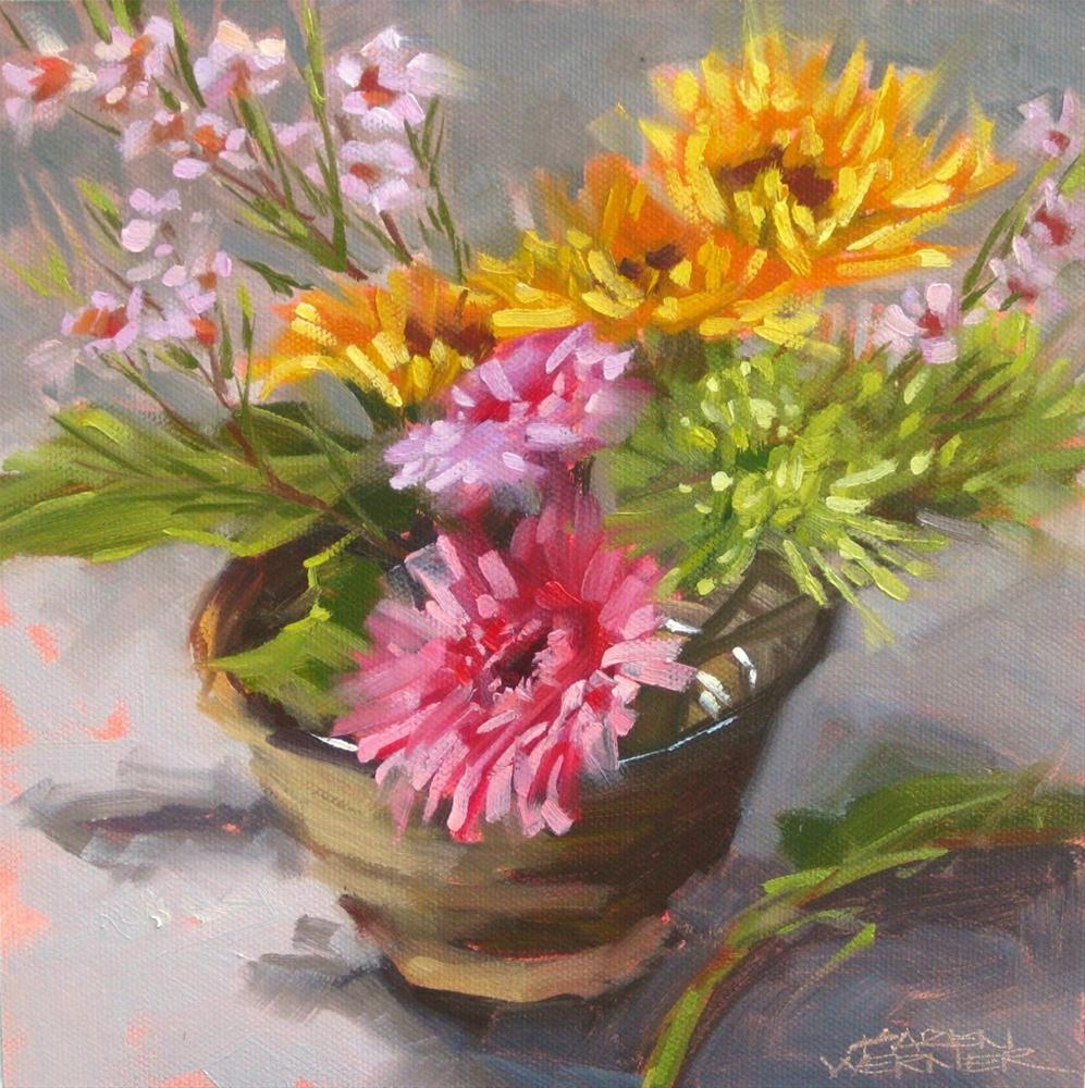 """""""Floral Bowl 2"""" original fine art by Karen Werner"""