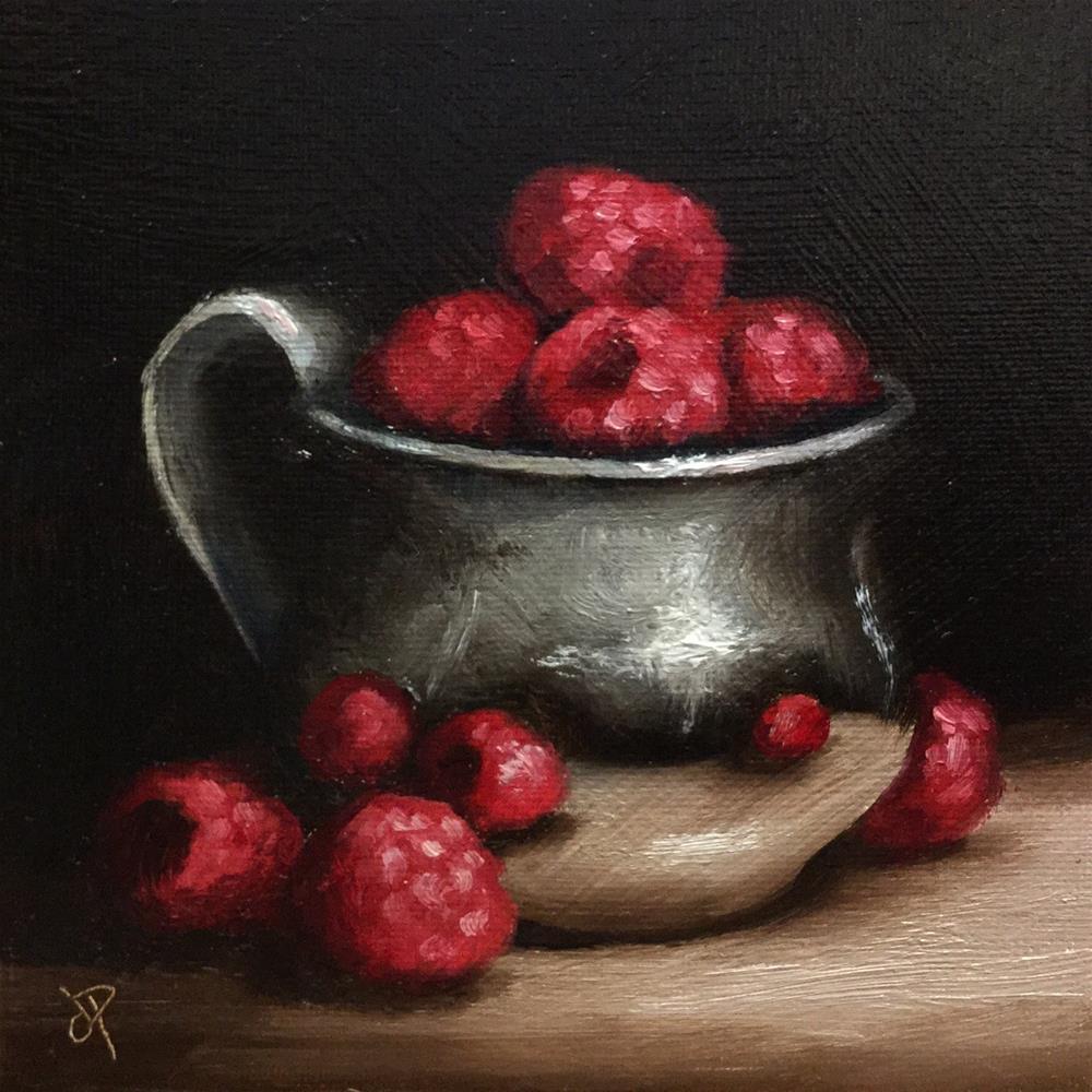"""Raspberries in silver cup"" original fine art by Jane Palmer"