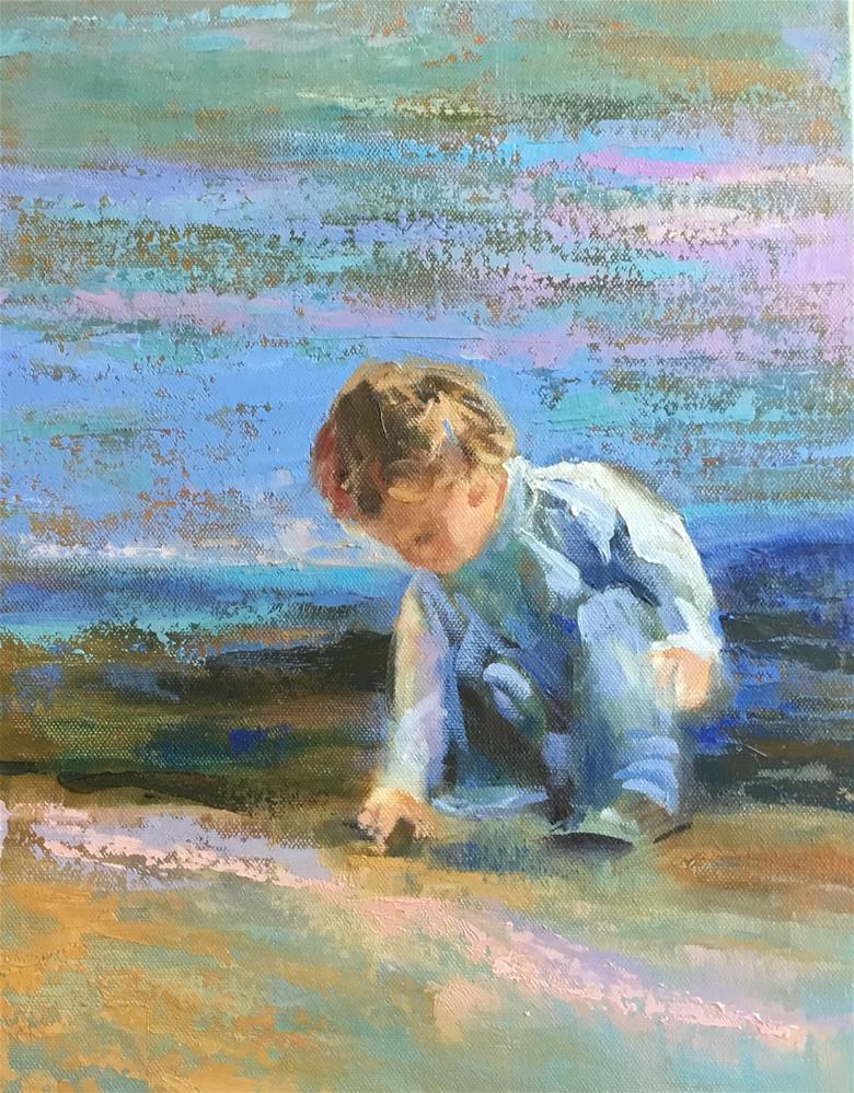 """Playing in the sand"" original fine art by Charlotte Fitzgerald"