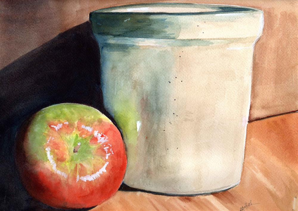 """Apple/Pot Still Life"" original fine art by Bunny Griffeth"