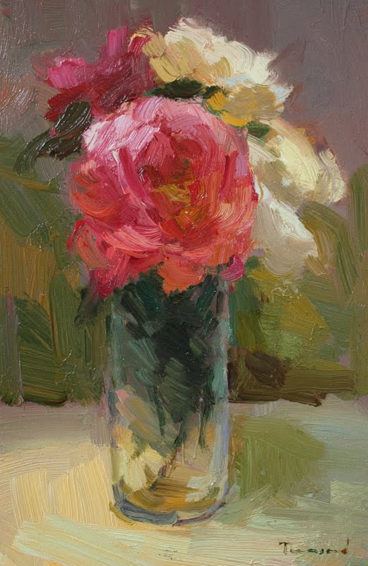 """""""Roses in Glass"""" original fine art by Kathryn Townsend"""