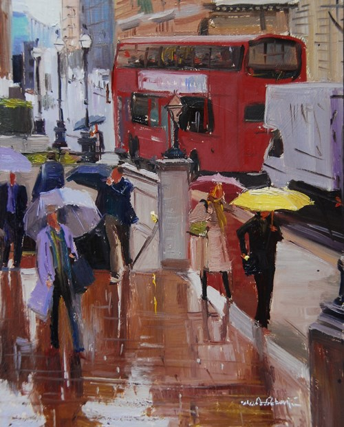 """""""Rain and Reflections in the City of London"""" original fine art by Adebanji Alade"""