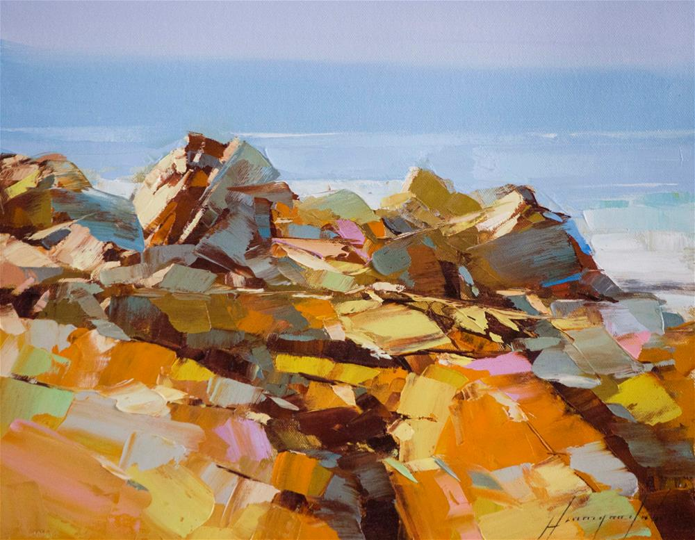 """Ocean Cliffs"" original fine art by V Y"
