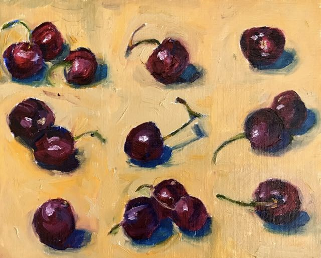 """cherries on yellow"" original fine art by Rita Malenczyk"