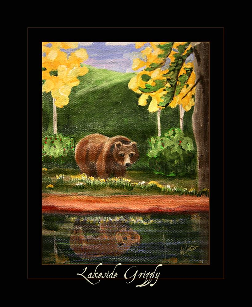 """""""Lakeside Grizzly"""" original fine art by Sunny Williams"""