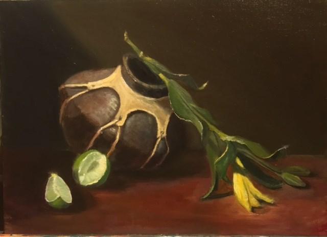 """Pottery with Limes"" original fine art by Cheryl J Smith"