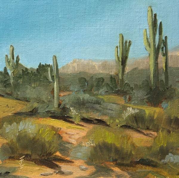 """""""Saguaro Skyline"""" original fine art by Jane Frederick"""
