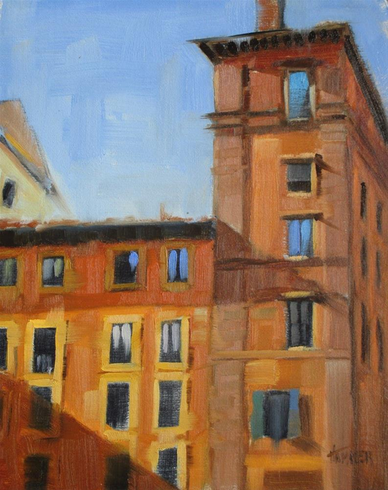 """Rome, orange building  8in x 10in   oil"" original fine art by Claudia Hammer"