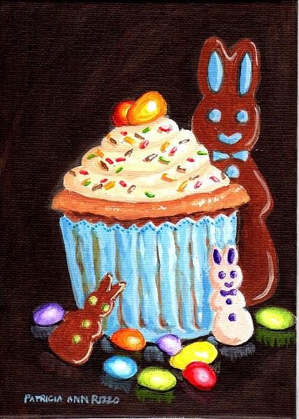 """An Easter Cupcake"" original fine art by Patricia Ann Rizzo"
