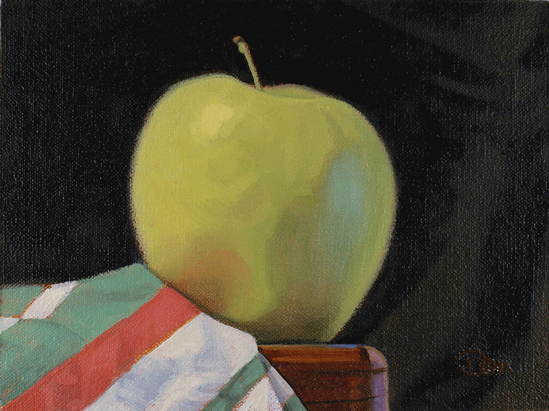 """""""Green Apple and Striped Cloth"""" original fine art by Don Stewart"""