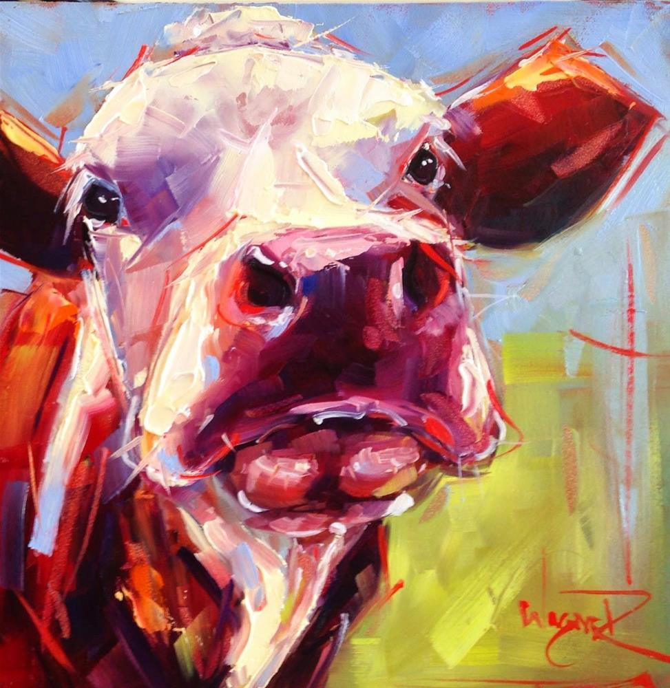 """Loving Color Day 11 - ORIGINAL CONTEMPORARY COW PAINTING in OILS by OLGA WAGNER"" original fine art by Olga Wagner"