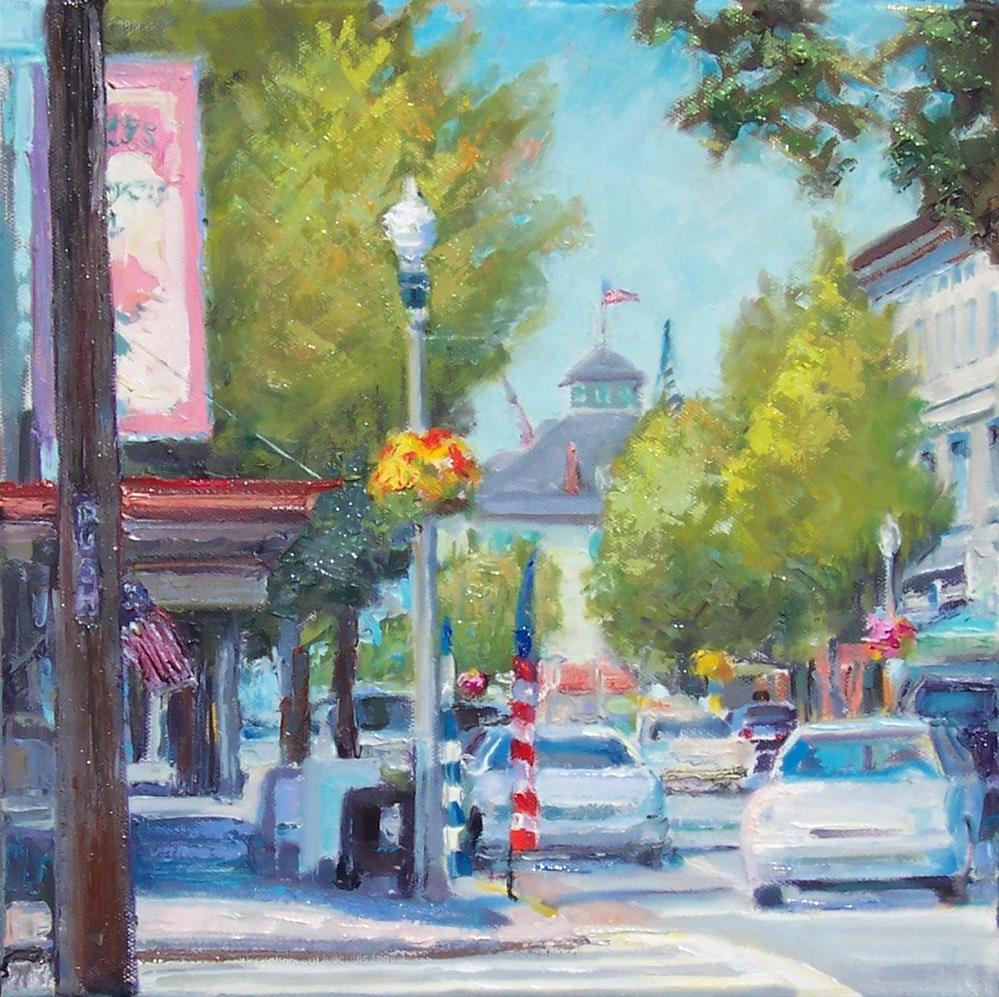 """Summer Shops,cityscape,oil on canvas,12x12,price$500"" original fine art by Joy Olney"