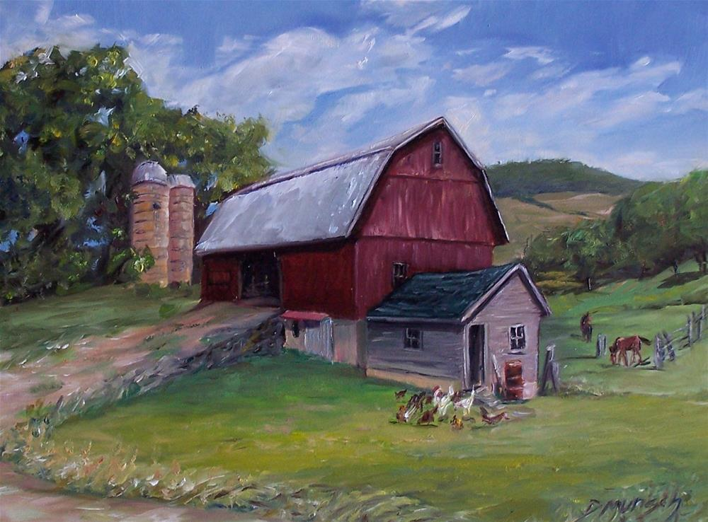 """Red Barn"" original fine art by Donna Munsch"