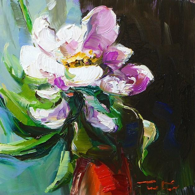 """Flower in red vase"" original fine art by Jurij Frey"