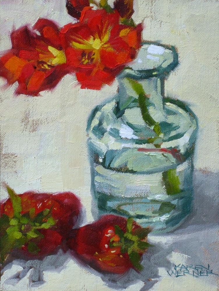 """""""Reds With Glass"""" original fine art by Karen Werner"""