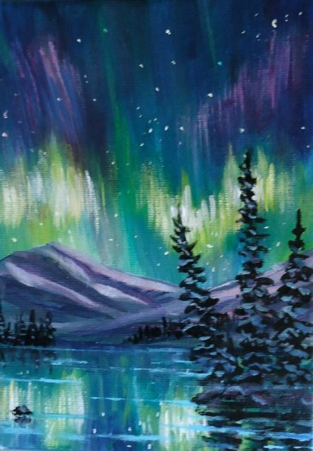 """Yukon Northern Lights"" original fine art by Jackie Irvine"