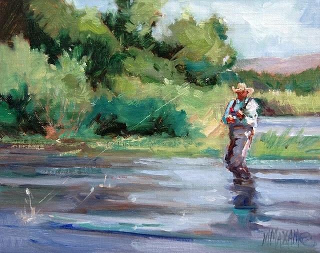"""'Fishing The West'"" original fine art by Mary Maxam"
