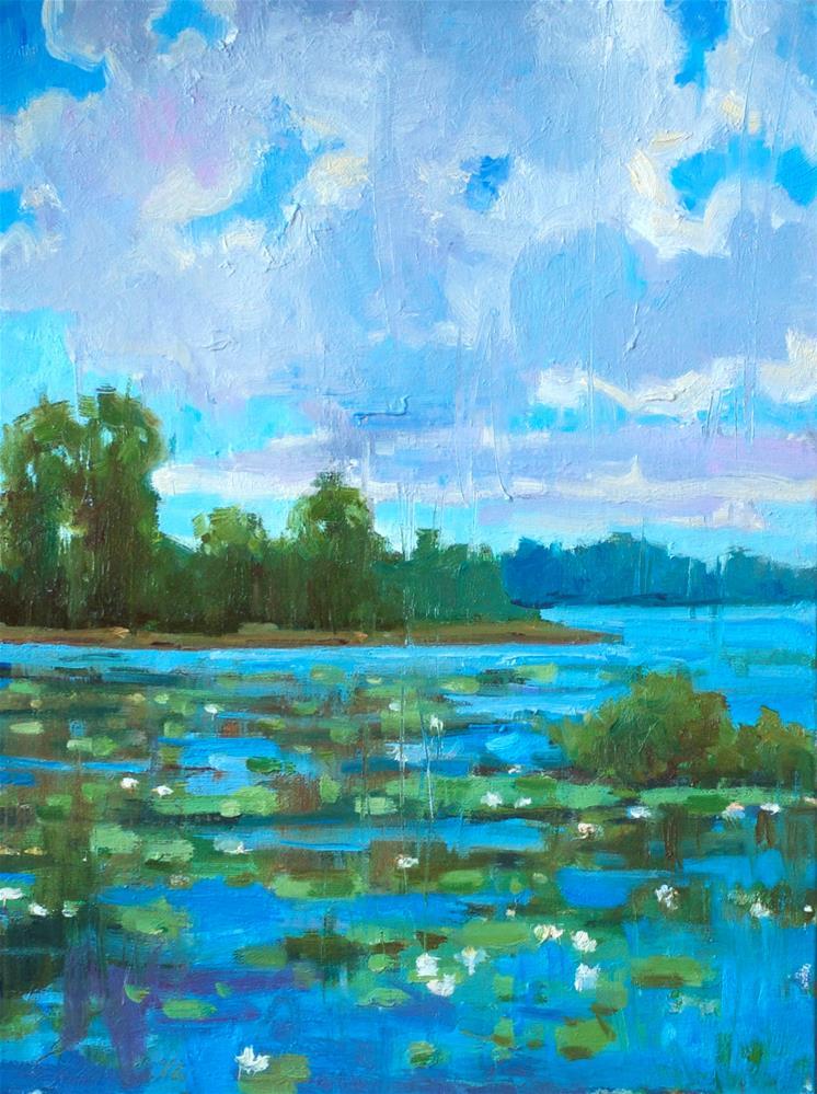 """""""Blooming Lake"""" original fine art by Emiliya Lane"""