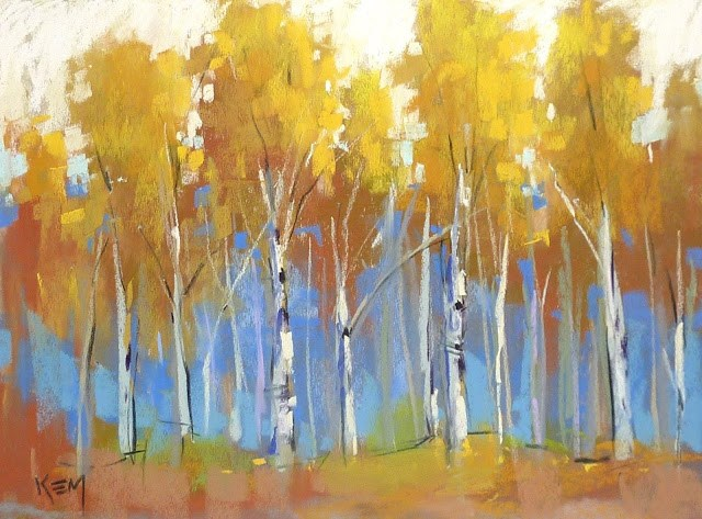 """""""The End of a Series...Which Yellow Pastels for Aspens?"""" original fine art by Karen Margulis"""
