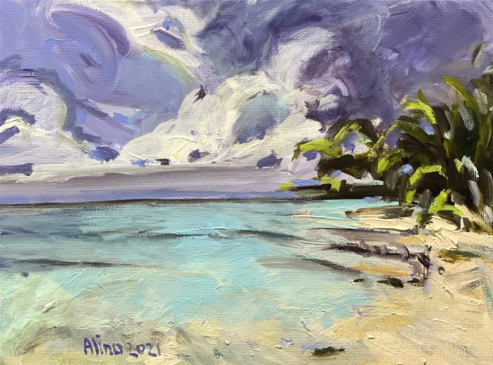 """Beach Small Study"" original fine art by Alina Vidulescu"