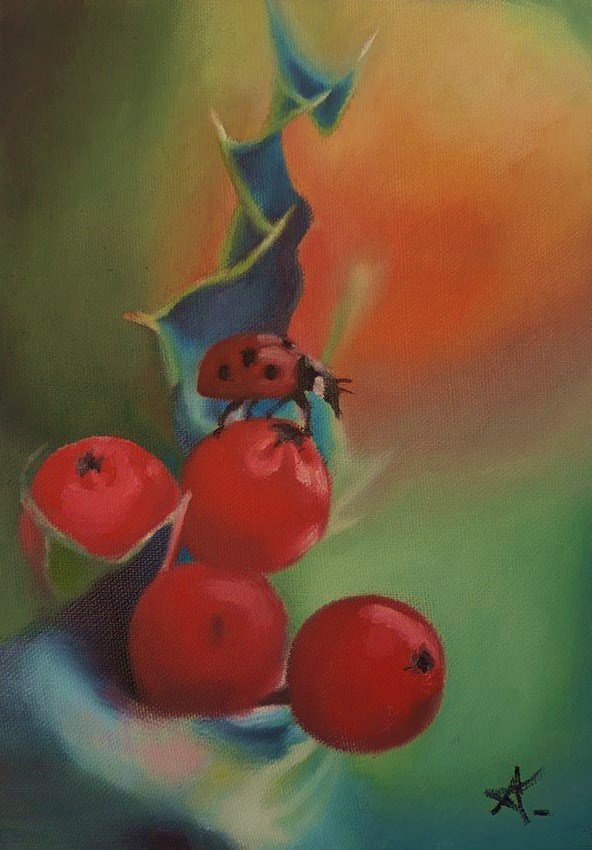 """Fruit ladybug 91"" original fine art by Konstantia Karletsa"