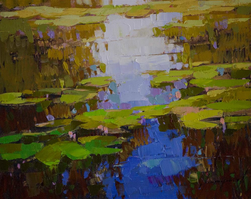 """""""Waterlilies Handmade oil Painting Signed with Certificate of Authenticity"""" original fine art by V Y"""