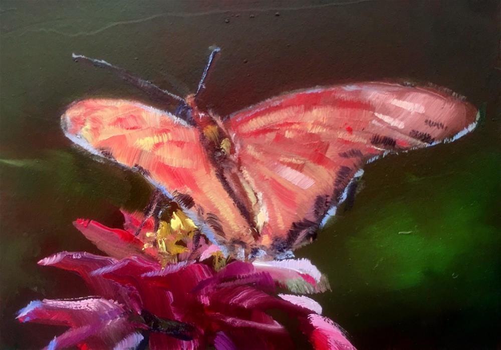 """Butterfly and Zinnia"" original fine art by Gary Bruton"