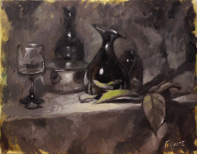 """""""Brown jug and leaf"""" original fine art by Dave Froude"""