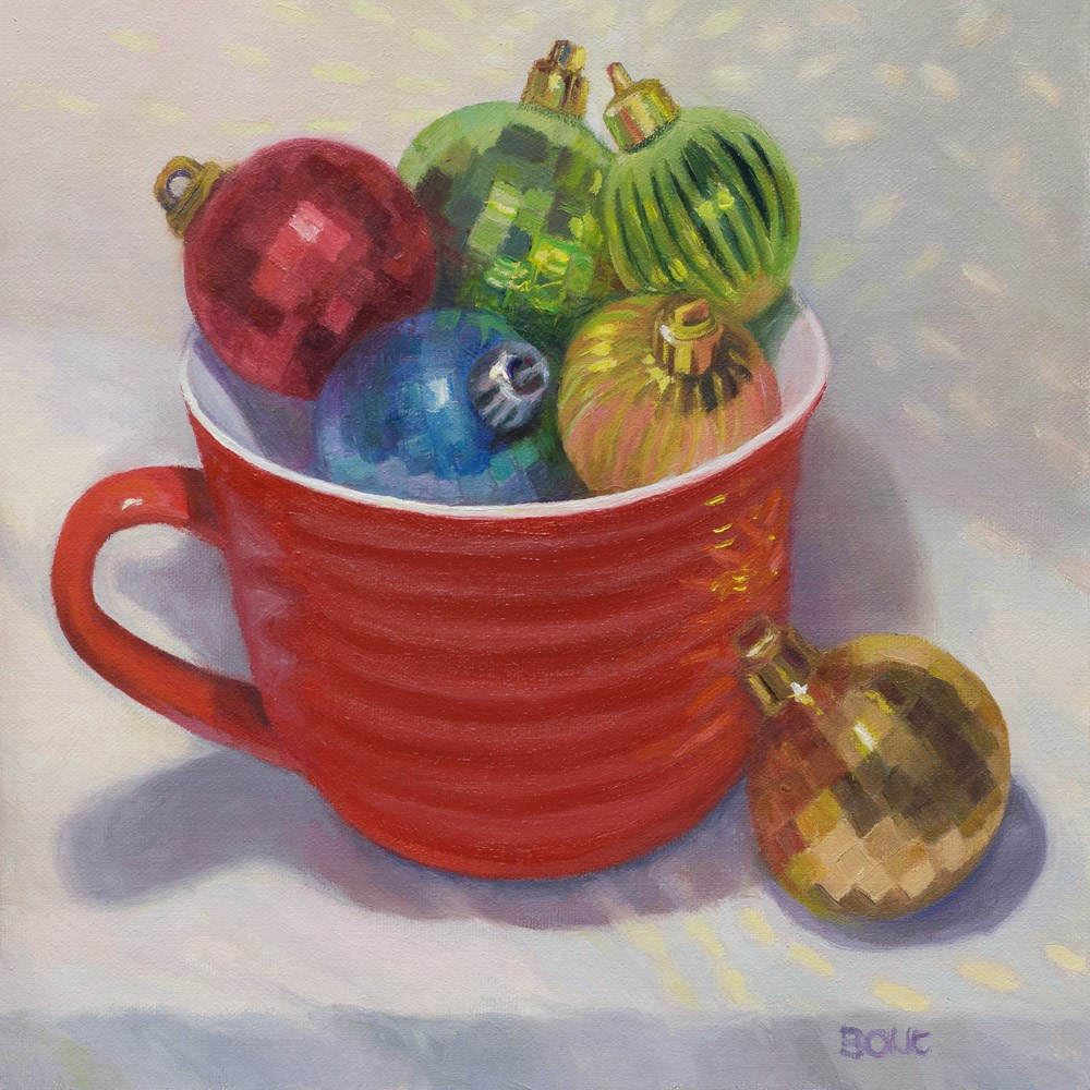 """Christmas Balls in Red Cup"" original fine art by Jana Bouc"