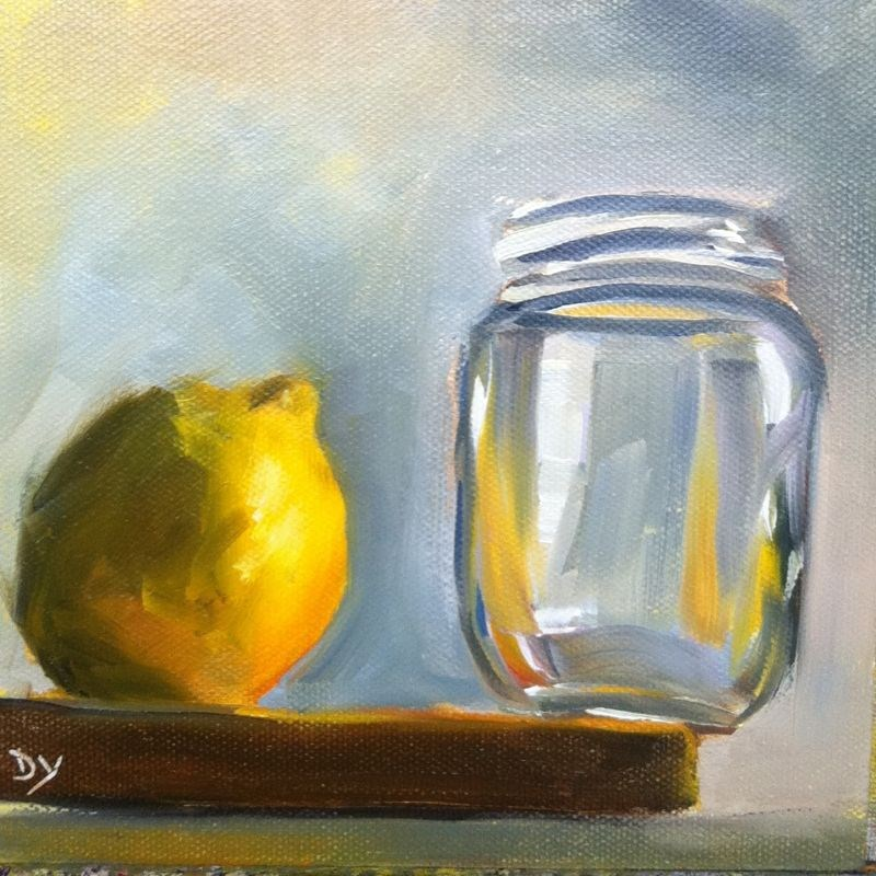 """Jump, Oil on canvas board, 6x6"" original fine art by Darlene Young"