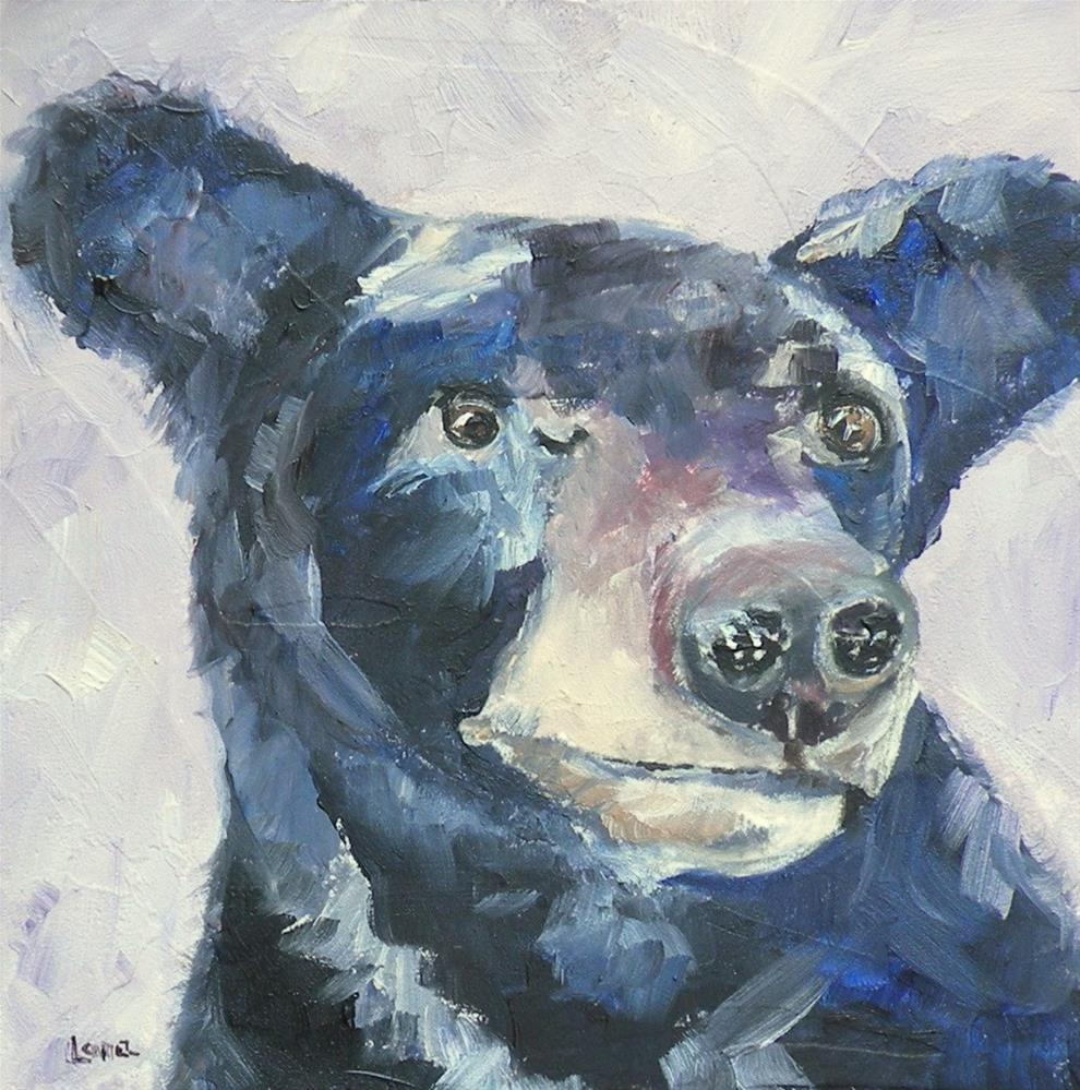 """""""BUSTER B A BEAR; ORIGINAL 4X4 OIL ON PANEL FOR MY ETSY SHOP AND CURTAIN UPDATE © SAUNDRA LA"""" original fine art by Saundra Lane Galloway"""