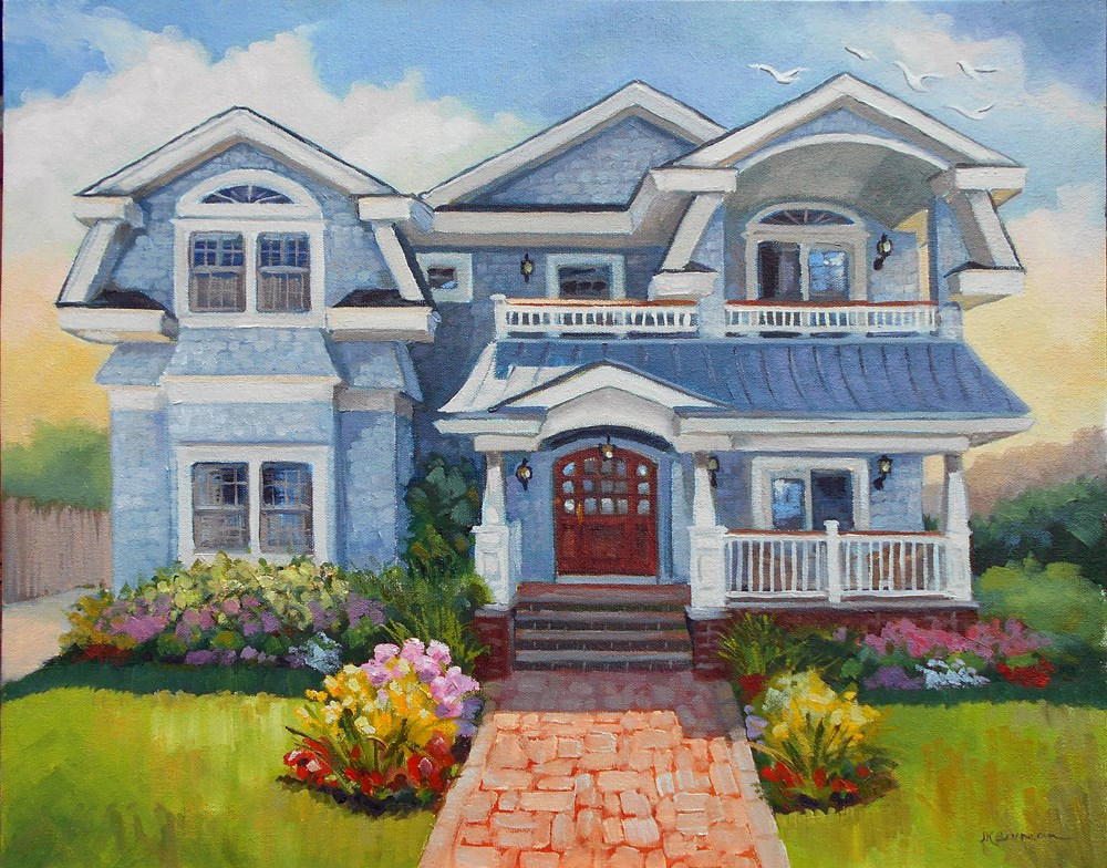 """Shore House"" original fine art by Jeanne Bruneau"