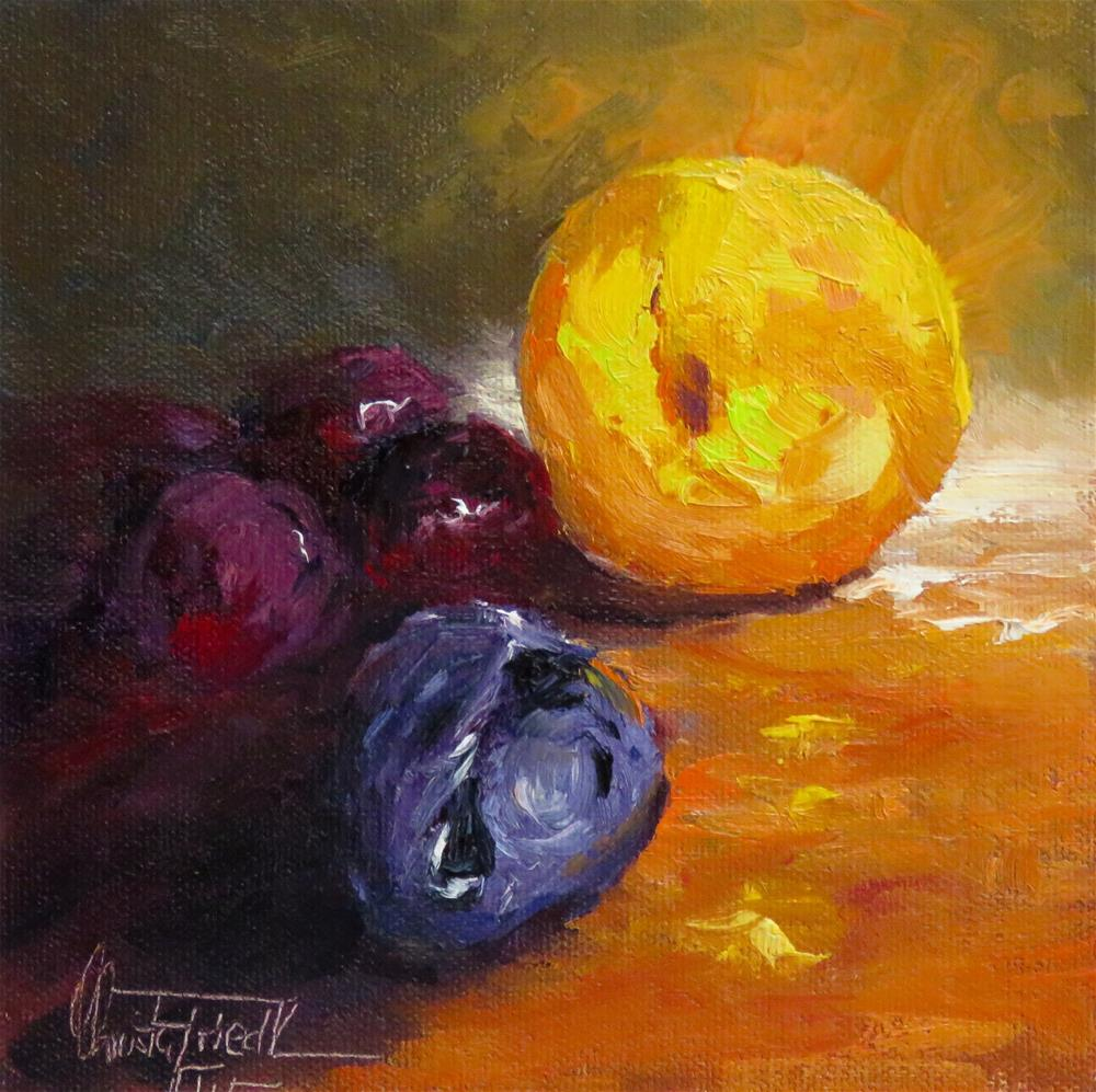 """Still life with plums and mandarine"" original fine art by Christa Friedl"